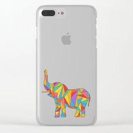 Big, bright, and colorful elephant - polychromatic animal Clear iPhone Case