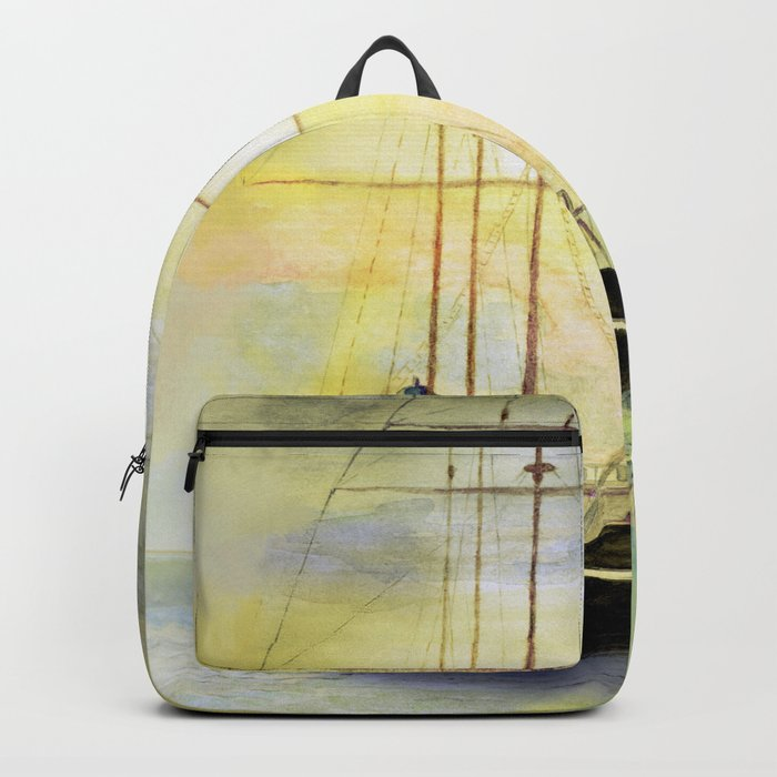 a ship at sea Backpack