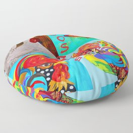 Rooster Menagerie Floor Pillow