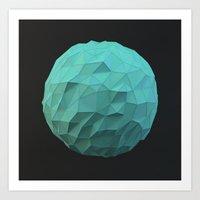 low poly Art Prints featuring Teal Low Poly Sphere by error23