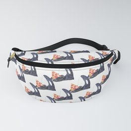 Orca whale with pizza watercolor Fanny Pack