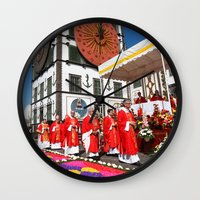 religious Wall Clocks featuring Religious festival by Gaspar Avila