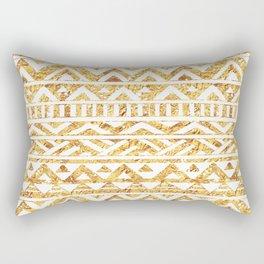 Aztec Inspired Golden Pattern Rectangular Pillow
