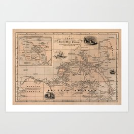 Map of the Northwest Passage 1856 Art Print