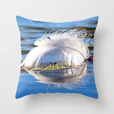 Swan Feather on Lake Throw Pillow