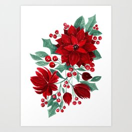 Merry Red Poinsettia Flowers Ivy Leaves Watercolor Art Print