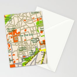 Jerusalem map design Stationery Cards