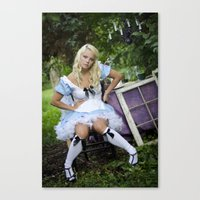 alice in wonderland Canvas Prints featuring Alice in Wonderland- Alice by Jennifer Markotay