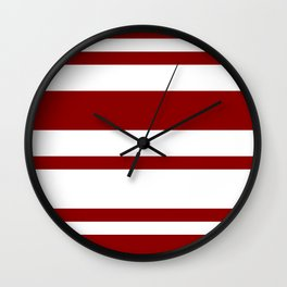 Mixed Horizontal Stripes - White and Dark Red Wall Clock