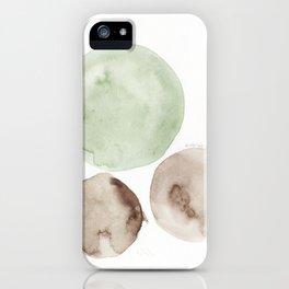 3 |181104 Australian Leaf Green & Brown Earth Orbs | Watercolour Circle Abstract Geometrical iPhone Case