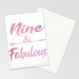 Nine And Fabulous Cute 9th birthday Girl Gift Stationery Cards