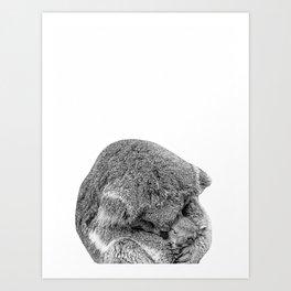 koala holding little koala b&w Art Print