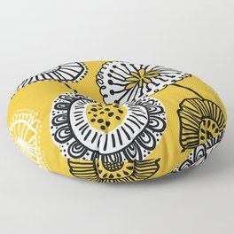 Folksy Floral in Yellow Floor Pillow