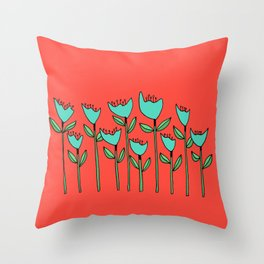 Colorful Floral Drawing Throw Pillow