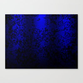 Vibrant blue abstract floral fantasy on black Canvas Print