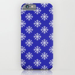 Snowflakes (White & Navy Blue Pattern) iPhone Case
