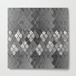Mermaid Scales Silver Gray Glitter Glam #1 #shiny #decor #art #society6 Metal Print
