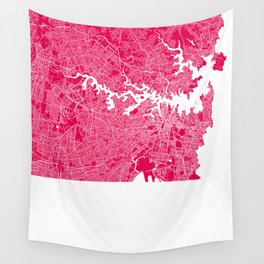 Sydney map raspberry Wall Tapestry