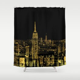 Abstract Gold City  Skyline Design Shower Curtain