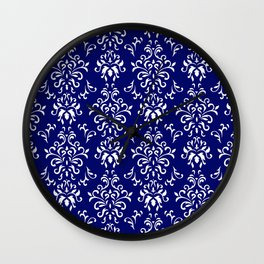 Navy Blue and White Damask Pattern Wall Clock