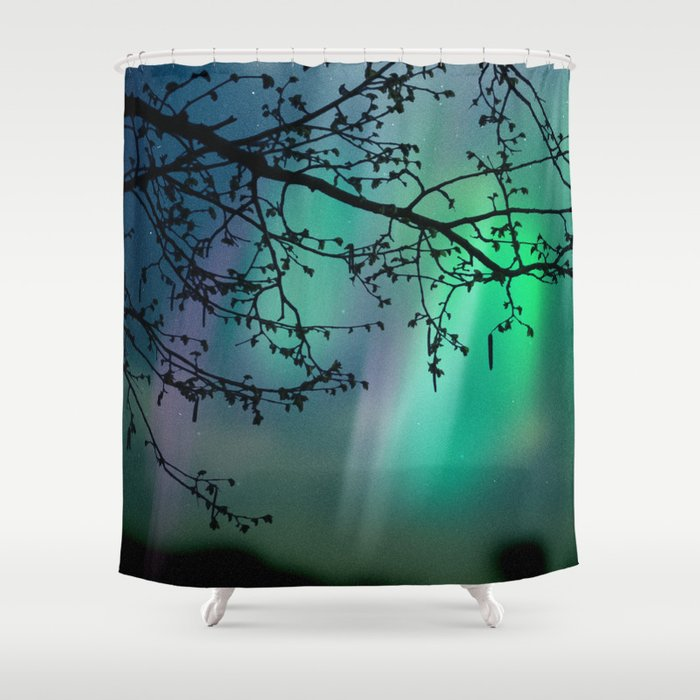 Tree Branch And Aurora Borealis Night Sky Shower Curtain By Mjrojas