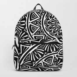 Black and White Simple Simplistic Mandala Design Ethnic Tribal Pattern Backpack