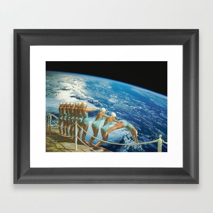 Obligatory Earth Dive Collage Framed Art Print