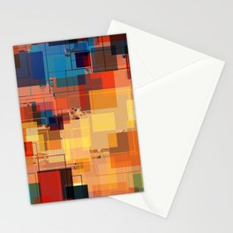 Multi color Square Geometrical Overlays Stationery Cards