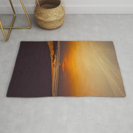 Vintage Sepia Orange Rustic Sunset Over The Ocean Rug