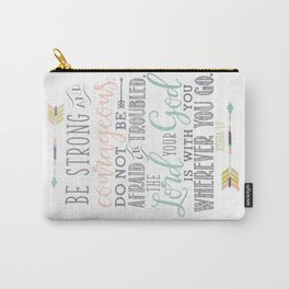 Joshua 1:9 Christian Bible Verse Typography Design Carry-All Pouch