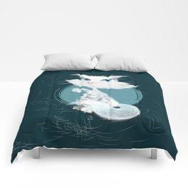 Catarday Night - white cat Comforters