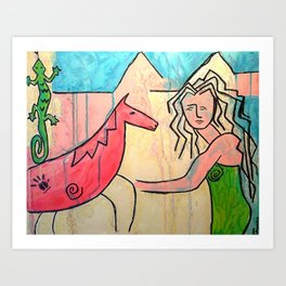 Horse Art - Girl with Horse Art Print