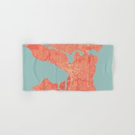 Seattle, Washington City Map, Colorful Hand & Bath Towel