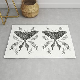 Watercolor Luna Moth in Black and White Rug