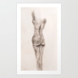 Charcoal Sketch Nude Female Woman Form Posed Art Print