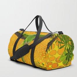 MAGNIFICENT GREEN PARROT GOLD JUNGLE MODERN ART Duffle Bag