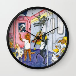 Canine Tourists On The Subway To Coney Island Wall Clock