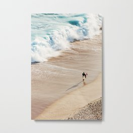 Surfer on the beach Metal Print