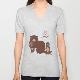 I Love You Mom. Funny brown kids otters with fish on white background. Gift card for Mothers Day. Unisex V-Neck