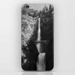 Multnomah Falls Oregon Waterfall Black and White iPhone Skin