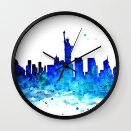 New York, watercolor Wall Clock