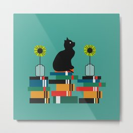 Cat, books and flowers Metal Print