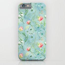 Aqua blue coral pink botanical roses and foliage pastel pattern iPhone Case