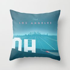 Vintage Los Angeles Travel Poster Throw Pillow