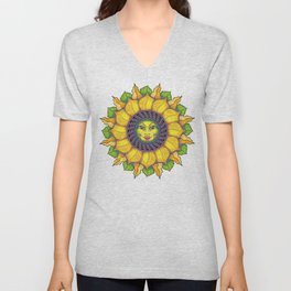 Sunflower Sunshine Girl by Amanda Martinson Unisex V-Neck