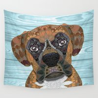 boxer Wall Tapestries featuring Cute Boxer by ArtLovePassion