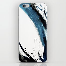 Reykjavik: a pretty and minimal mixed media piece in black, white, and blue iPhone Skin