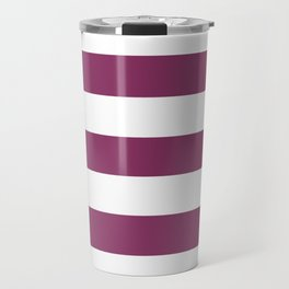 Boysenberry - solid color - white stripes pattern Travel Mug