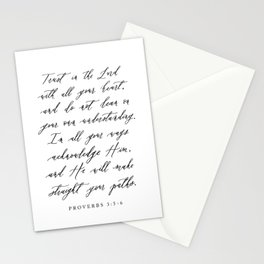 Trust in the Lord with all your heart Proverbs 3:5-6 Stationery Cards