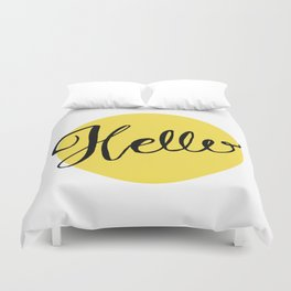 Hello Chartreuse Green Hand Lettering Duvet Cover